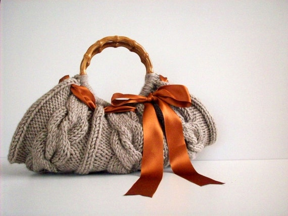 Knit hand bag, fall autumn - winter fashion, women accessories, Knitted Handbag - Beige melange, rusty satin ribbon bow, christmas gift idea