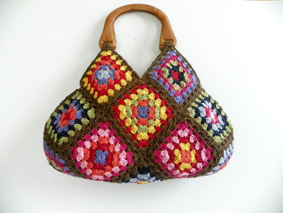 NzLbags New - Multicolor Summer Bag Afghan Crochet Bag, Bamboo Yarns Handbag - Shoulder Bag Nr-0177