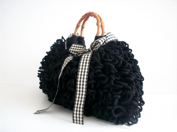Crochet Tote bag, Crochet bag NzLbags Handmade,  pouch, Crocheted Handbag Shaggy Black, fall autumn fashion, christmas gift idea