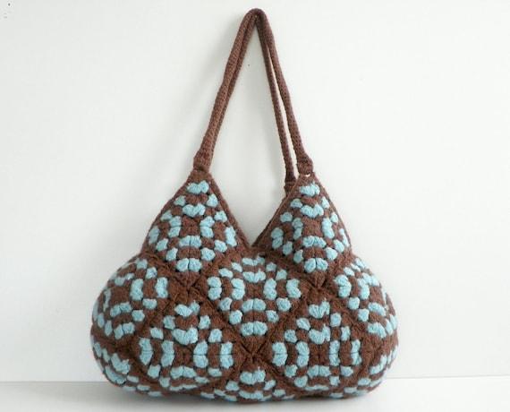 SALE OFF 15% NzLbags- New Handbag - Felted Wool Crochet Handbag -  Brown & Turquoise  - Nr-0182