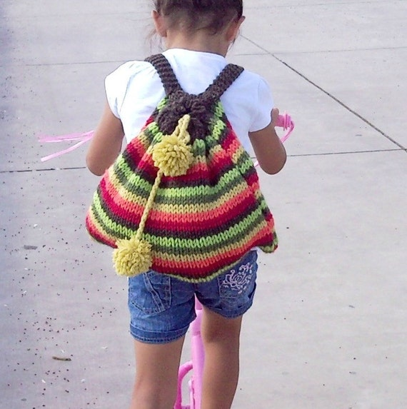 NzLbags Multicolor Kids Backpack New - Sweet Colors Knit Bag - Back to School Nr-015