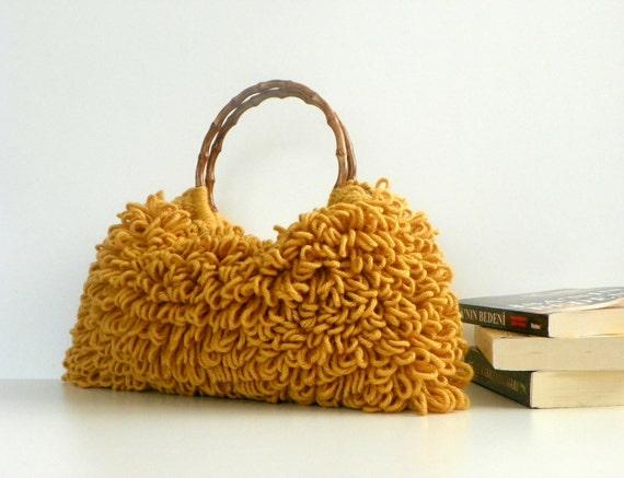 Crochet tote women hand bag, autumn Fall Fashion, Handmade bag, Everyday Bag, Crochet Handbag Shaggy Mustard, harvest, christmas gift idea
