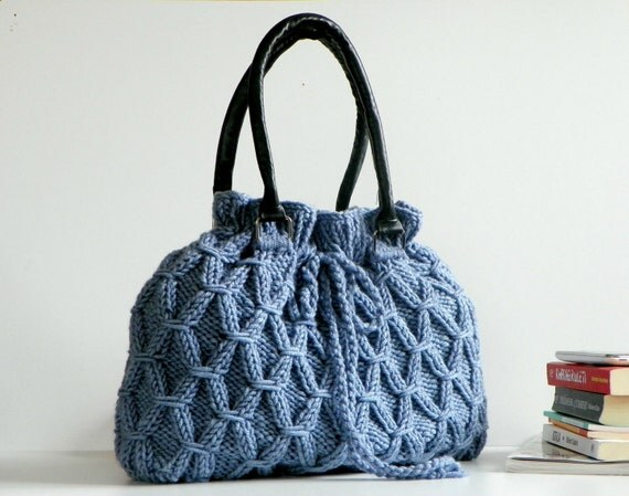 Knit Bag, Fall autumn Winter Fashion, Light Denim Knit Bag, Handbag, Shoulder Bag, Leather Strap, Christmas Gifts Idea, women accessories