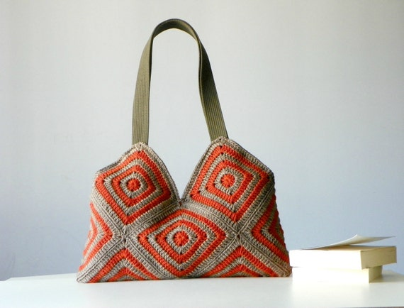 Crochet women bag, Stripet crochet Bag, granny square, Fall autumn ...