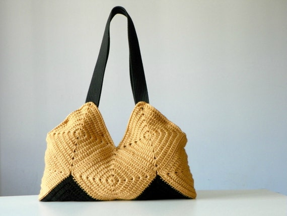 Patchy crochet bag, tote , Autumn fall fashion Crochet bag - Shoulder Bag, Purse, christmas gift idea beige, black