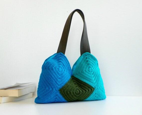 Crochet Ganny Square bag, autumn fall fashion, Patchy crochet Bag, Four Season Crochet bag - Shoulder Bag, patchwork