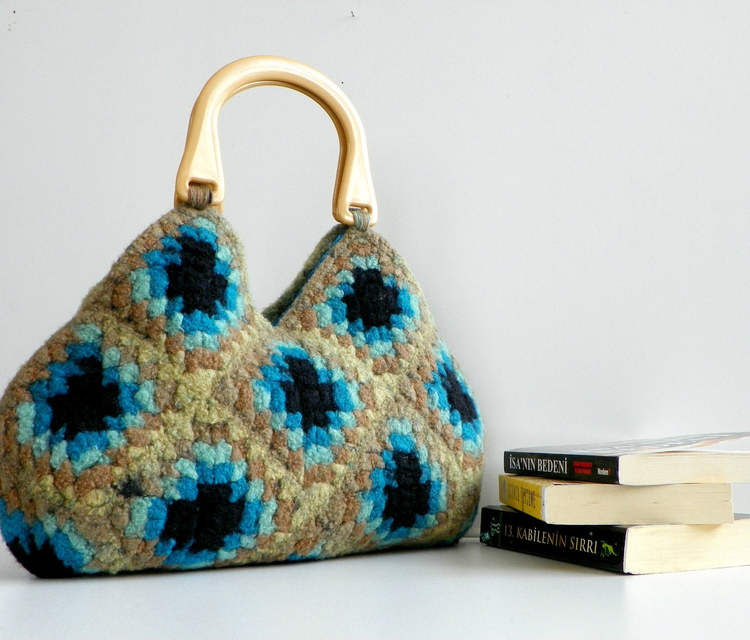 SALE OFF 15% NzLbags-Felted Wool Crochet Granny Square by NzLbags