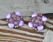 Vintage 1950's Earrings / 50's Clip Earrings / Purple Plastic Cluster Earrings