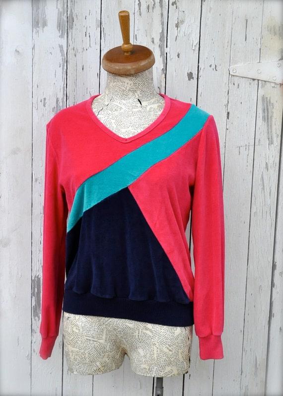 Vintage Sweatshirt / 1980s Velour Sweater / Bubblegum Colorblock Top