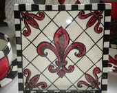 Large Square Red Fleur de Lis Tile