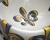 LSU Purple & Gold Fleur de Lis Pet bowl