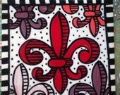 Fleur de Lis Tile with crackled glaze