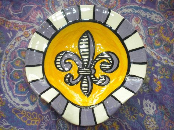 Purple & Gold Fleur de Lis Spoon Rest