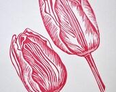 Tulip Original Art Lino Print UK