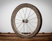"Vintage Rustic 16"" Wheel, Solid Rubber Tire, Metal Spokes Rim"