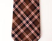 Vintage Retro Plaid Men's Wide Necktie, Brown and Burnt Orange