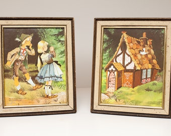 Vintage Hansel and Gretel, Framed 1967 Illustrations Set, Perfect for Baby Nursery