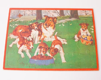 Collie Dog & Puppies Tray Puzzle, Vintage 50s, Lassie Breed Canine, Educational Toy