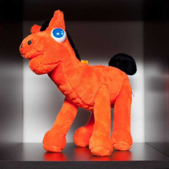Vintage 1988 Pokey Plush Bright Orange Horse, Friend of Gumby