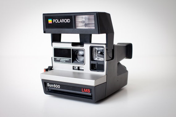 Vintage Polaroid Sun600 Land Camera LMS, Black and Silver, Very Nice