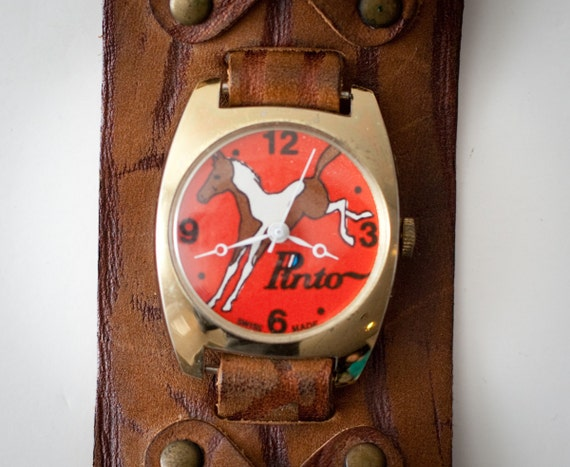 Vintage 1970s Brown Leather Ford Pinto Horse Logo Watch, Wide Band