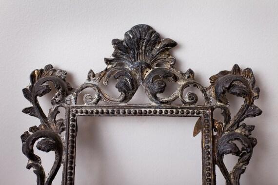 RESERVED Antique Cast Iron 5x7 Photograph Frame, Ornate Design, Vintage Victorian