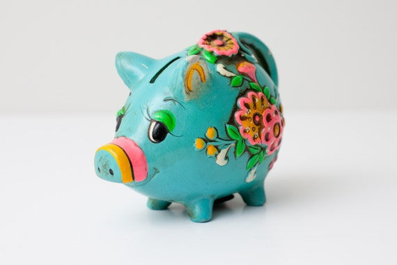 Vintage 1968 Retro Hippy Piggy Bank, Holiday Fair, Teal, Pink & Other Neon Colors