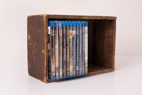 Vintage Primitive Wood Storage Box, Fits Blu-Ray Cases