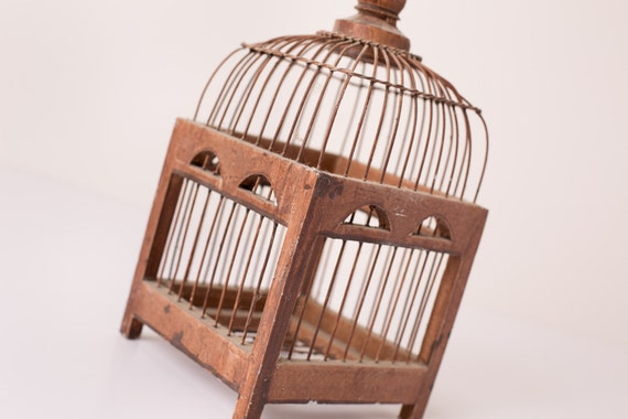 "Vintage Small 12"" Wood and Metal Wire Bird Cage"