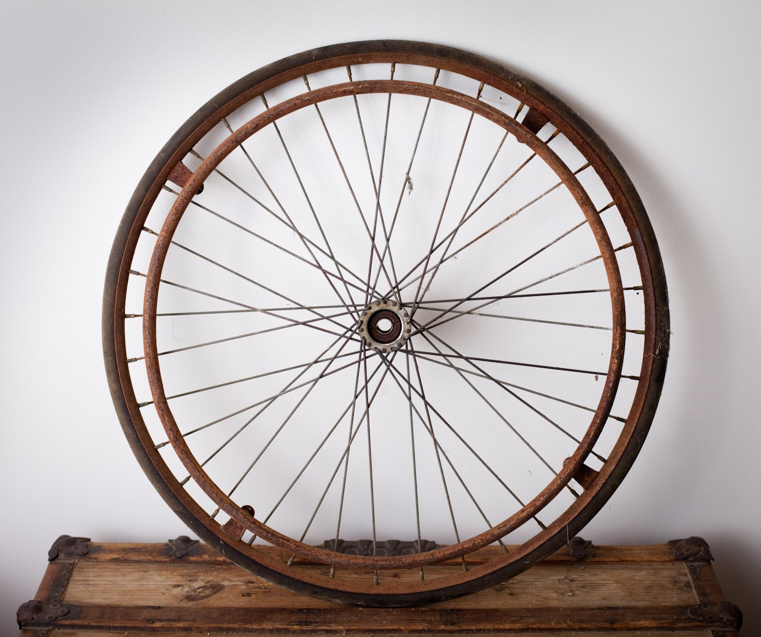 Antique Large 26 Wheel From Wooden Wheelchair Rusty