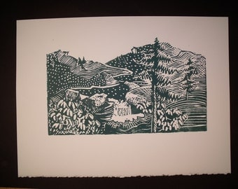 Mountains Block Print