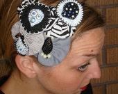 Black and White Beaded Felt Cluster Headband