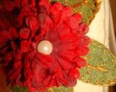 Red Refashioned Flower Headband