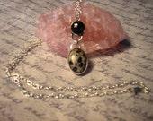Handmade Dalmatian Jasper, black Onyx and Sterling Silver Necklace - See Spot Run