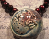 Blushing Moon - Porcelain Pendent with Cranberry Pearls