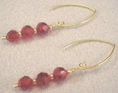 Handmade Siam Crystal Earrings