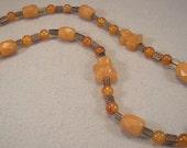 Handmade Carnelian, Copper & Smoky Quartz Necklace