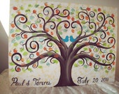 Wedding Guestbook thumbprint tree Canvas.....18 x 24......165- 185  guests