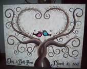 Wedding Guestbook Thumbprint Tree Canvas.....18 x 24....165-185 guests...His & Her Lovebirds