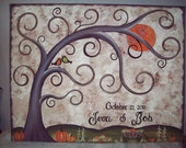 Wedding Thumbprint Guest Canvas.....18 x 24......125-170 guests.....A great Wedding guest book alternative