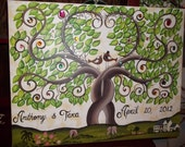 Wedding guest book signature tree........125-155 painted leaves on 18 x 24 Stretched Canvas