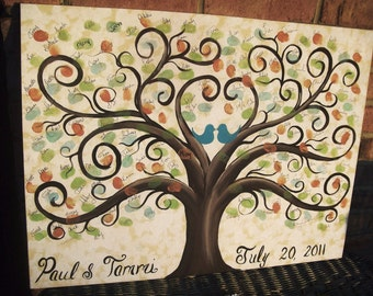 Wedding Thumbprint Guest Canvas.....18 x 24......125- 185  guests