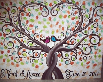 Wedding thumbprint guest book canvas....150-175 guests......18 x 24 hand painted canvas