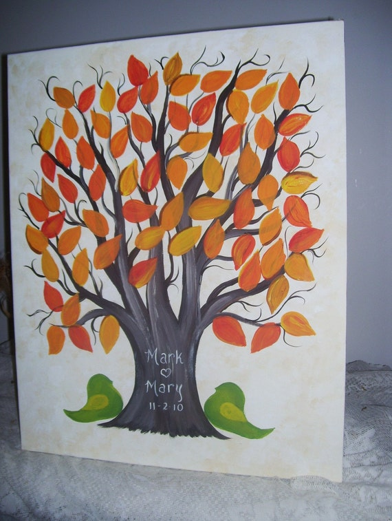 Wedding Guest Canvas...Fall Theme Wedding....Signature Leaf Sweetheart tree...79 painted leaves