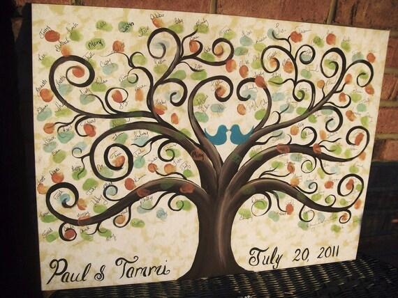 Wedding Thumbprint Guest Canvas....16 x 20....60 - 120 guests....Great Wedding guest book alternative