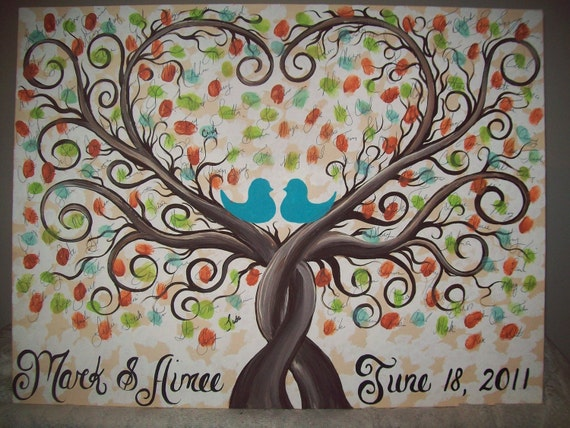 Wedding guest book thumbprint tree.....22 x 28.....200-300 Guests