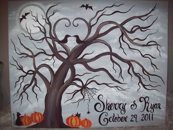 Wedding thumbprint Halloween guest canvas.....16 x 20....50-100 guests