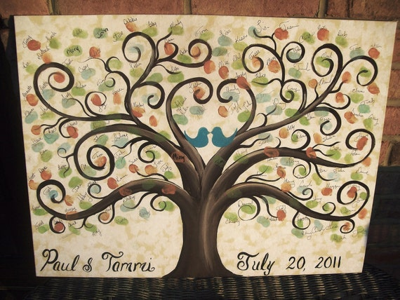 Wedding Guest book thumbprint tree....150-175 guests......18 x 24 hand painted canvas