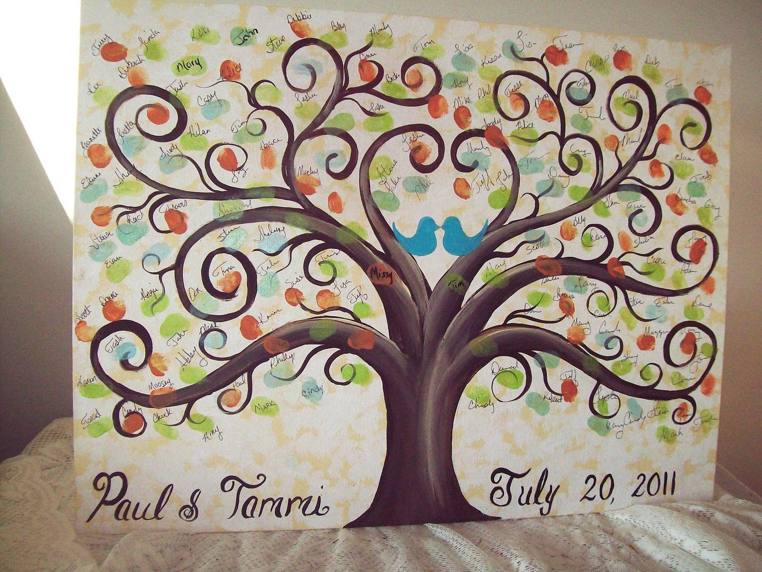 Wedding Guestbook Thumbprint Tree Canvas.....18 X 24......165