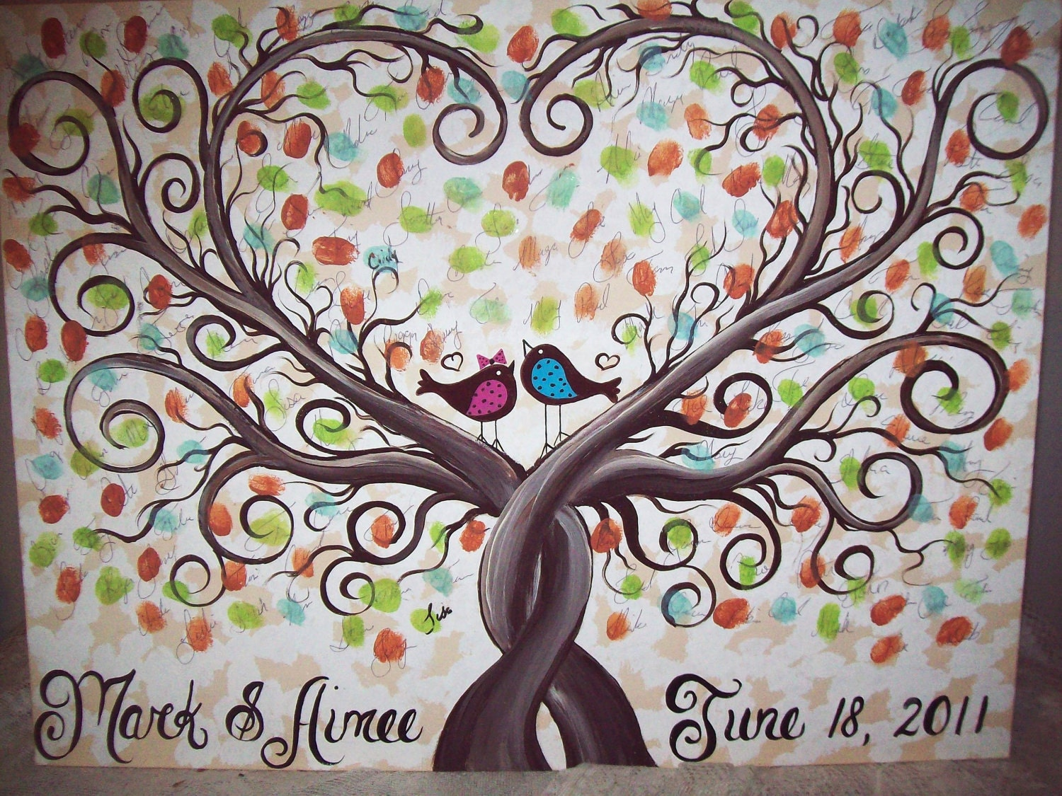 Wedding Gift Paintings: Wedding Thumbprint Guest Book Canvas....150-175 Guests......18